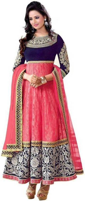 EDMC Georgette Embroidered Semi-stitched Salwar Suit Dupatta Material