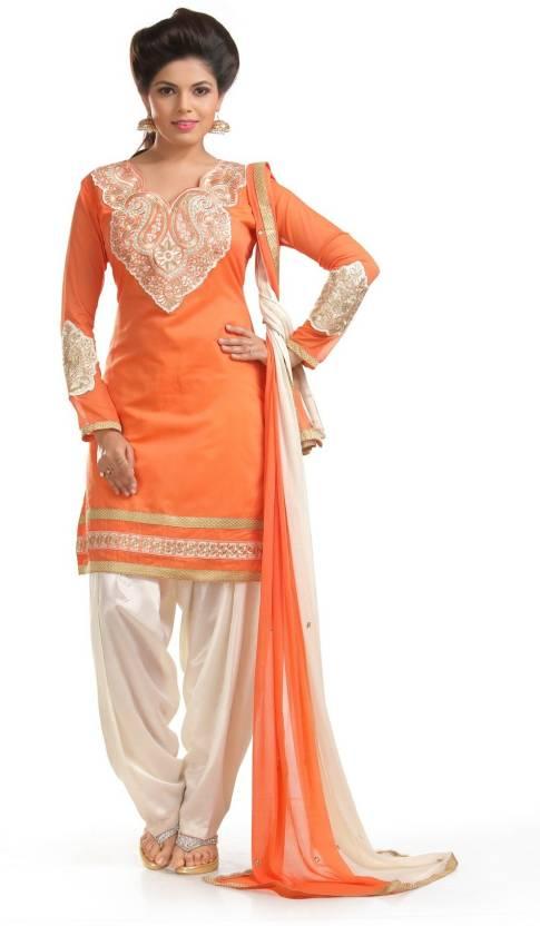 Kurtas & Kurtis!! Upto 70% Or More off On Asymmetrical, Anarkalis & More By Flipkart | Zombom Chanderi Embroidered Salwar Suit Dupatta Material  (Un-stitched) @ Rs.497