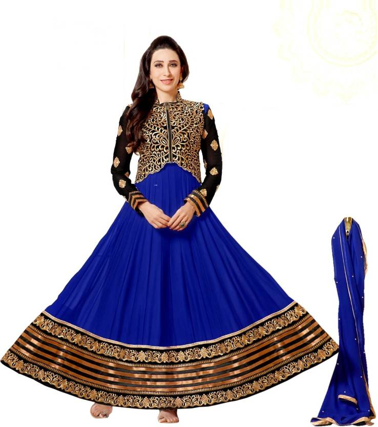 ShreejiShoppingBazaar Georgette Embroidered Semi-stitched Salwar Suit Dupatta Material
