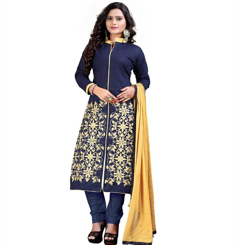 Kedar Fab Satin Embroidered Semi-stitched Salwar Suit Dupatta Material