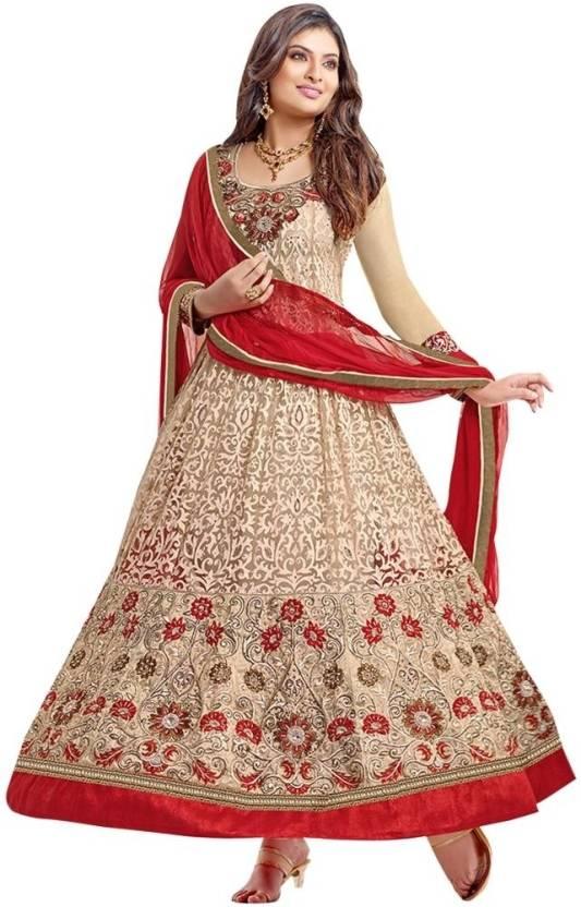 Vibes Brasso Self Design Semi-stitched Salwar Suit Dupatta Material