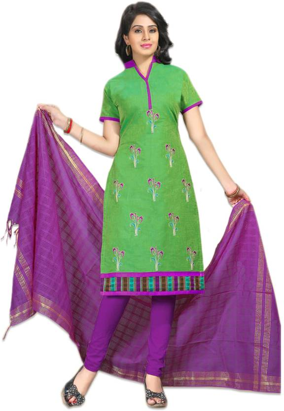 278fde6949 Handloom New Look Cotton Embroidered Kurta & Churidar Material Price ...
