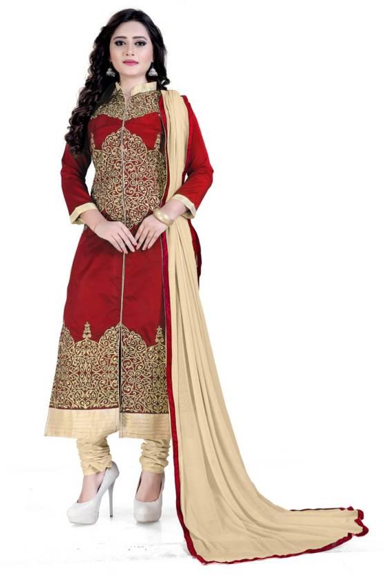 Rudra Fashion Satin Embroidered Salwar Suit Dupatta Material(Un-stitched)