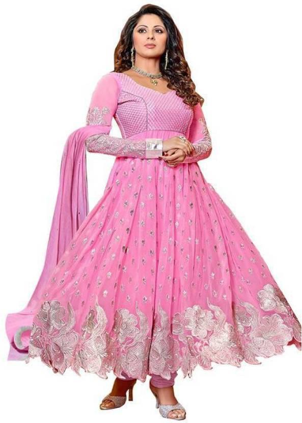 1e96f8cbab Dlesha Embroidered Kurti & Salwar - Buy Pink Dlesha Embroidered ...