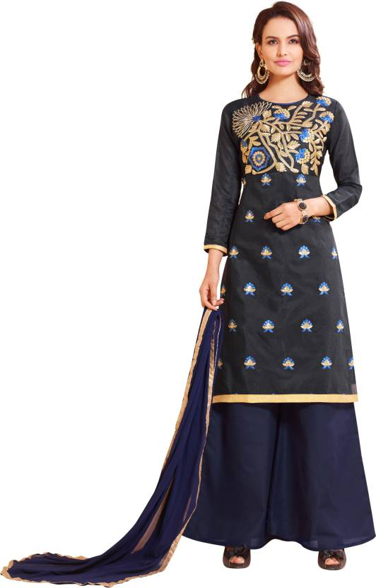 bc1872d8285 Blissta Chanderi Embroidered Salwar Suit Dupatta Material (Un-stitched)
