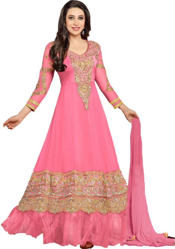 Helix Enterprise Georgette Self Design Semi-stitched Salwar Suit Dupatta Material