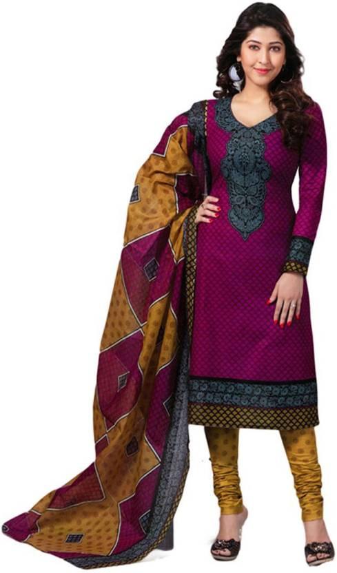 Javuli Cotton Printed Semi-stitched Salwar Suit Dupatta Material