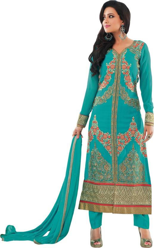 31967a9c16 Rivaa Georgette Embroidered Semi-stitched Salwar Suit Dupatta Material  Price in India - Buy Rivaa Georgette Embroidered Semi-stitched Salwar Suit  Dupatta ...