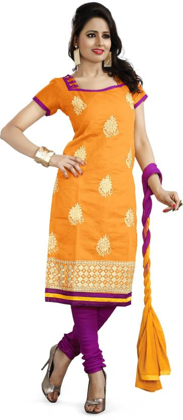 Khushali Chanderi Self Design, Embroidered Salwar Suit Dupatta Material(Un-stitched)