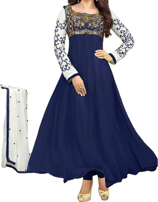 Rudrika4fashion Georgette Embroidered Semi-stitched Salwar Suit Dupatta Material