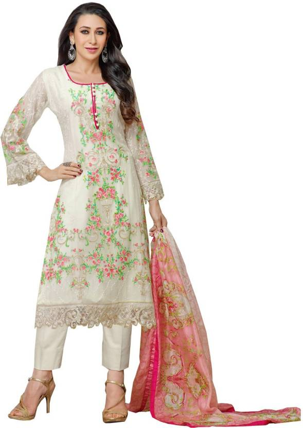30cc8e811b Z Hot Fashion Georgette Embroidered Salwar Suit Dupatta Material  (Un-stitched)