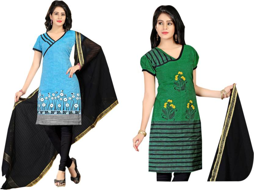 10e043fc2 Handloom Heritage Cotton Embroidered Kurta & Churidar Material (Un-stitched)