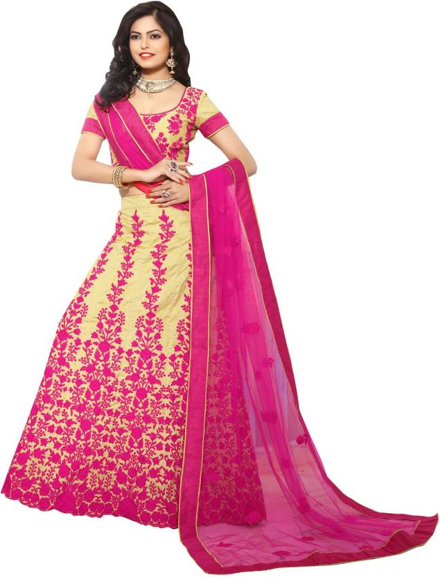 SHUBHLAXMI FASHIONS Silk Embroidered Semi-stitched Lehenga Choli Material