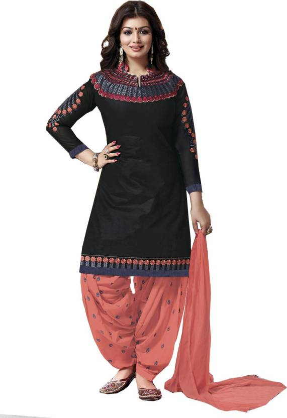 Fashion Ritmo Cotton Embroidered Semi-stitched Salwar Suit Dupatta Material