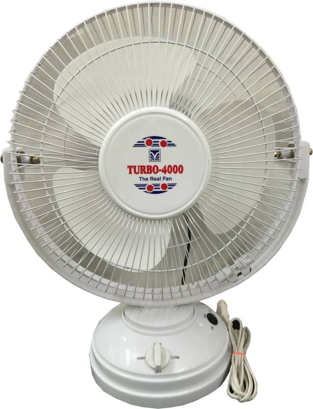 Turbo 4000 All Purpose With Revolving 12 Inch 3 Blade Table Fan White