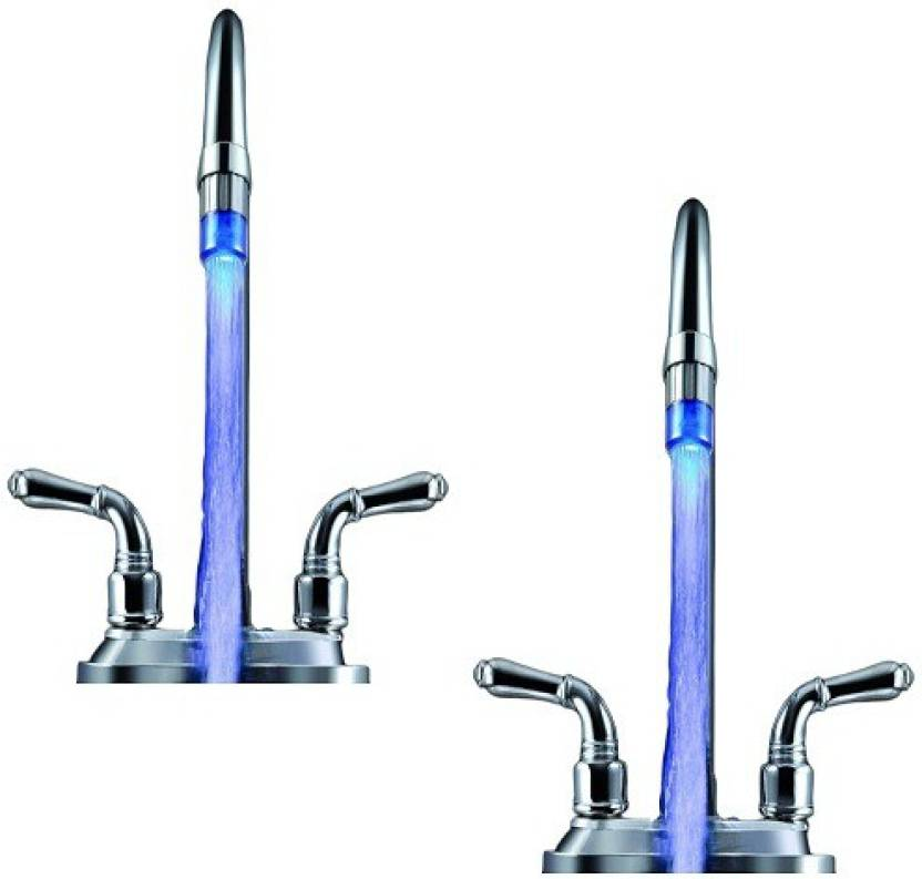 sangaitap 2 pes Blue Color no power magical led Light Water Shower Faucet for Bathroom sink