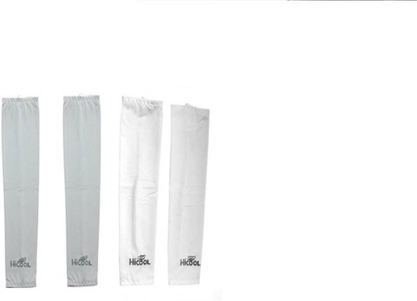 Gee Power Hi Cool Sunlight UV Protection Arm Sleeves  Set of 2 Pairs  Fitness Band White, Grey, Pack of 2