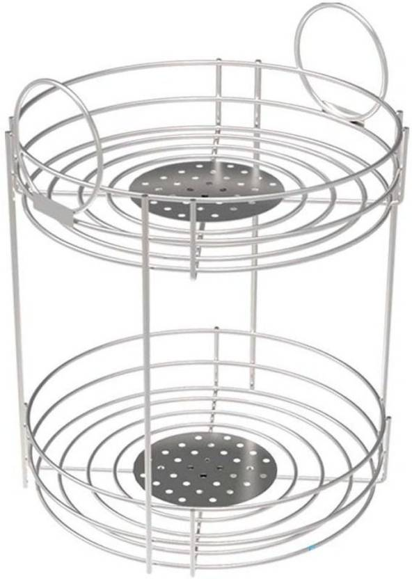 Floraware Saffron 2 Tier Stainless Steel Round Silver Plastic Fruit Vegetable Basket