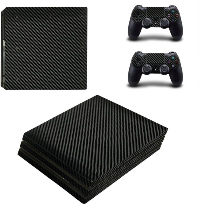 hytech plus black carbon fiber theme sticker for ps4 pro console 2