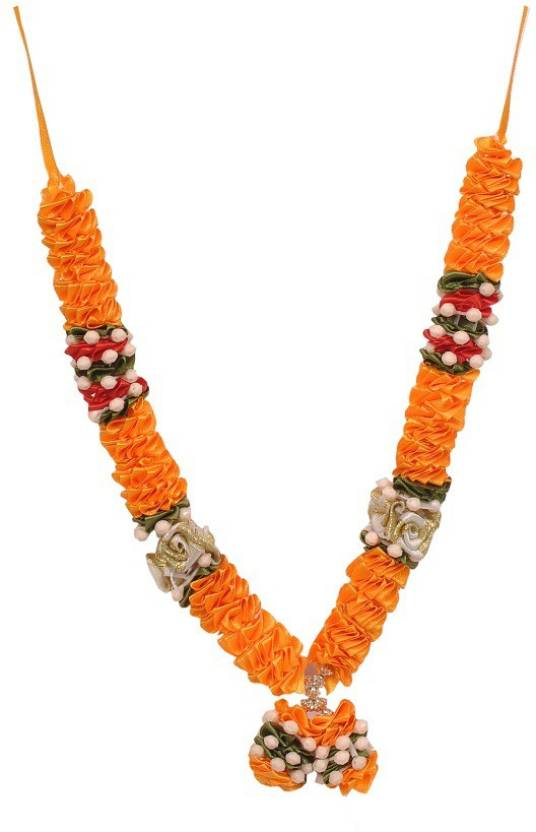 Elite Handicrafts Orange Satin Flowers Diwali Deity Satin Garland