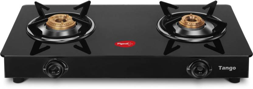 Pigeon Tango Rectangle 2 Stainless Steel Glass Manual Gas Stove
