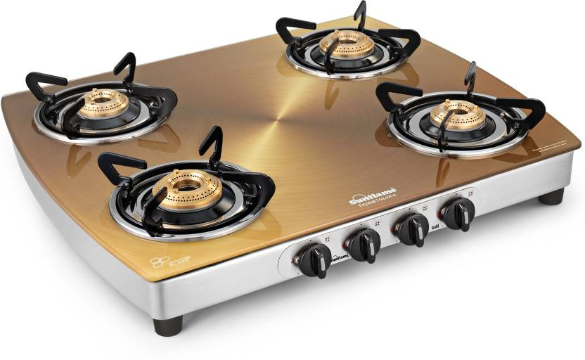 Sunflame Crystal Gold Glass, Stainless Steel Manual Gas Stove