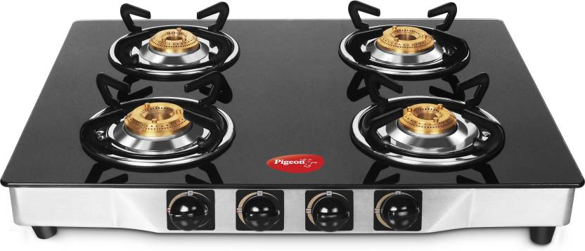 Pigeon Stainless Steel, Glass Manual Gas Stove