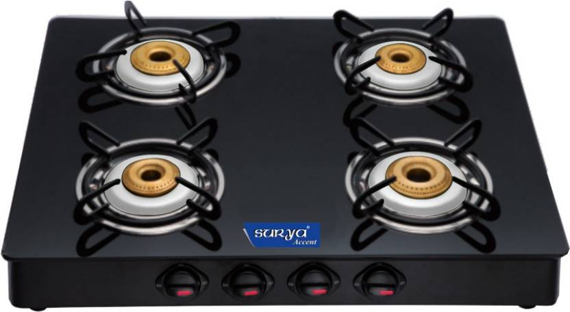 Surya Accent Glass Manual Gas Stove  (4 Burners)