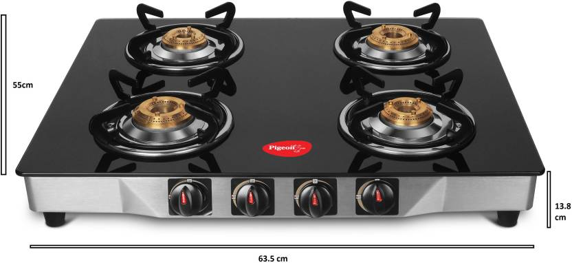 Pigeon Ultra Glass, Stainless Steel 4 Burner Gas Stove