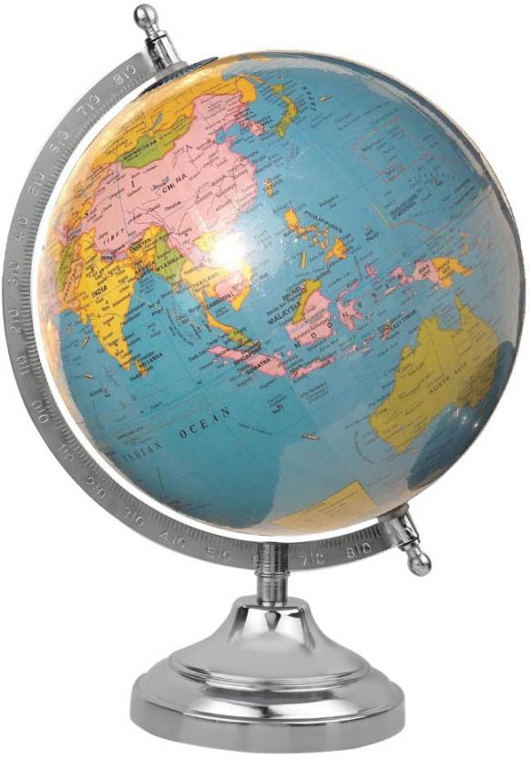 Globeskart educational laminated sky blue with chrome base and arc globeskart educational laminated sky blue with chrome base and arc desk and table top political world publicscrutiny Images