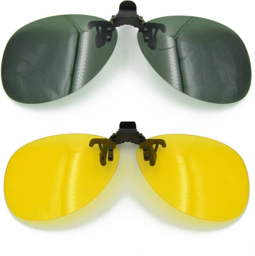 18d8d7cb602 Enem Day Night Vision Polarized Black Yellow Aviator Clip-on Flip-up  Driving Motorcycle Goggles (Yellow
