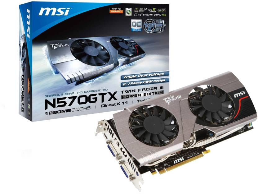 MSI NVIDIA N570GTX Twin Frozr III PE/OC 1.25 GB GDDR5 Graphics Card