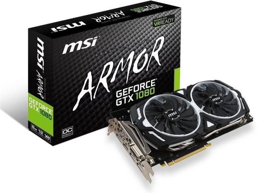 msi NVIDIA GEFORCE® GTX 1080 ARMOR 8G OC 8 GB GDDR5X Graphics Card