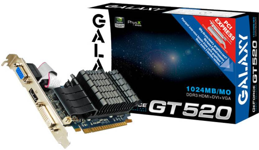 Galaxy NVIDIA GeForce GT 520 1 GB DDR3 Graphics Card