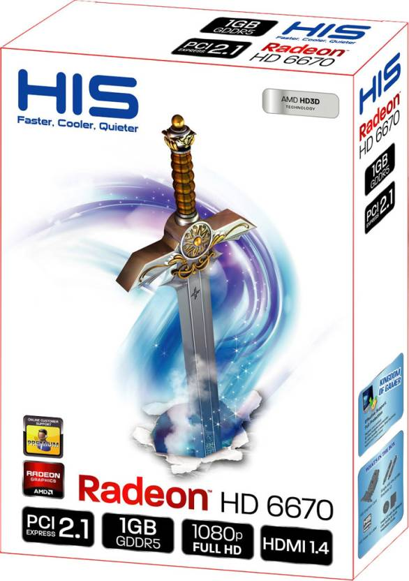 HIS AMD/ATI Radeon HD 6670 1 GB GDDR5 Graphics Card
