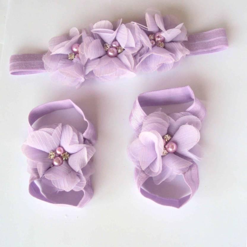 1930b0b3fa4c5a Etsi Bitsi Girl s Foot Flower Barefoot Sandals + Headband Accessories Hair  Band (Purple)