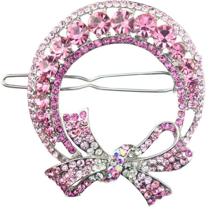 Glitters Online Light Pink Colour American Diamond Hair Clip