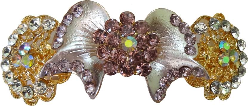 Shreya Collection Fashion Purple Colour Stone Studded Hair Clip Back Pin