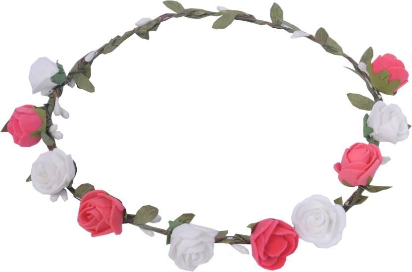 Sanjog pink and white flower tiara crown for wedding party beach for sanjog pink and white flower tiara crown for wedding party beach for women girls head band mightylinksfo