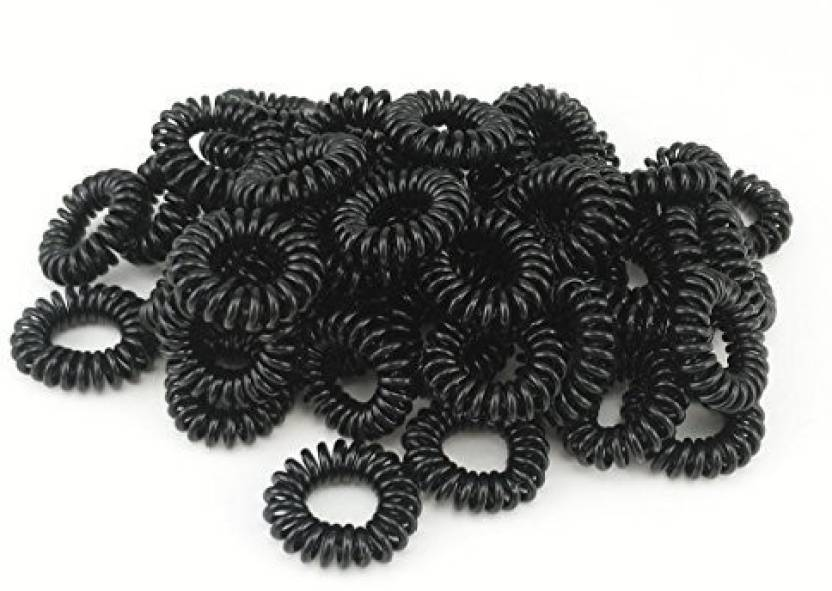 Yueton Pack of 50 Stretchy Elastic Hair Ropes Bands Spiral Slinky Hair Ties  Ponytail Holder (Black) Hair Band (Black) 7fad1f493d9