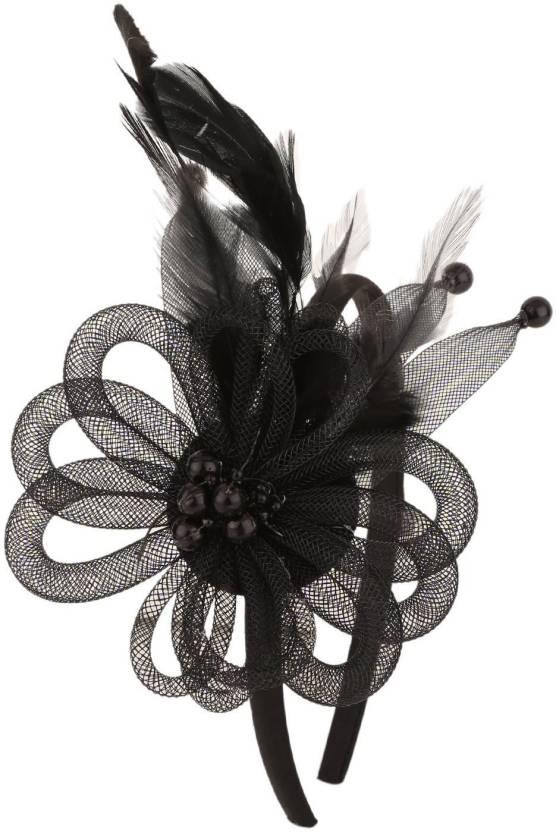 285598fafa0a7 Sanjog Retro Feather Mesh Net Flower Hat Fascinators Hairband Headband Hair  Clip (Black) For Kids Girls Hair Clip (Black)