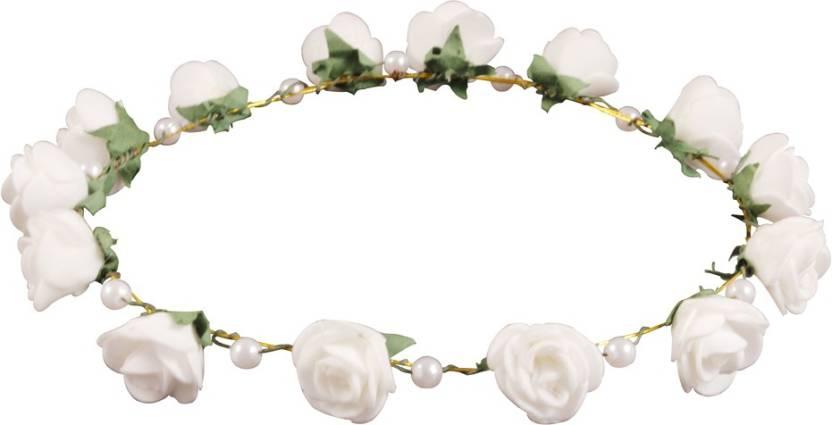 Style Tweak White Floral And Pearl Tiara Princess Crown Head Band