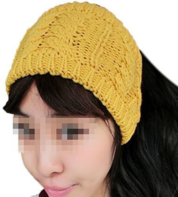 Generic JOVANA Winter Warm Twist knitting wool hat headgear Women  amp   Ladies Korea Knit Crochet flora Twist Style Headband Head Wrap (Yellow)  Head Band ... 84a862764ce6