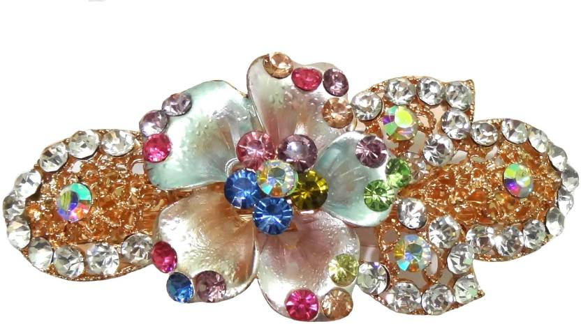 Shreya Collection Fashion Multi-colour Stone Studded Hair Clip Back Pin