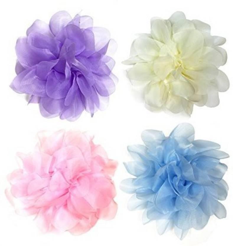 Generic 4 Piece Silk Flowers Brooch Hair Clip 4 Color Single Silk
