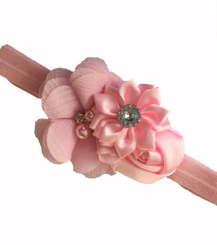 dd3903f737b6 Bellazaara BELLAZAARA Couture Baby Girl Light Pink Satin Ribbon Flower  Headband Head Band (Pink)