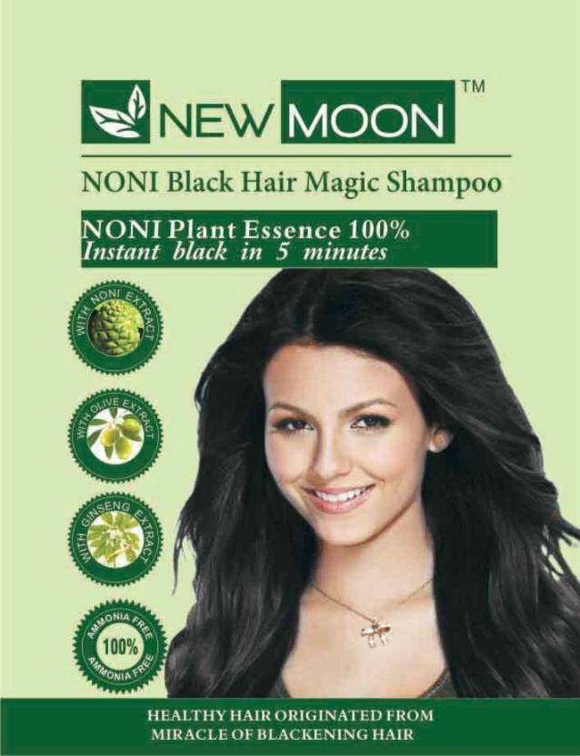 New Moon Noni Instant Black Shampoo Hair Dye With Conditioner 10 Sachets  Hair Color