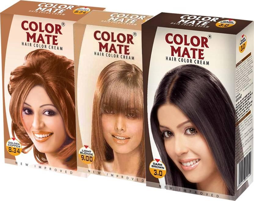 Color Mate Golden Copper Loght Blonde Dark Brown Hair Color