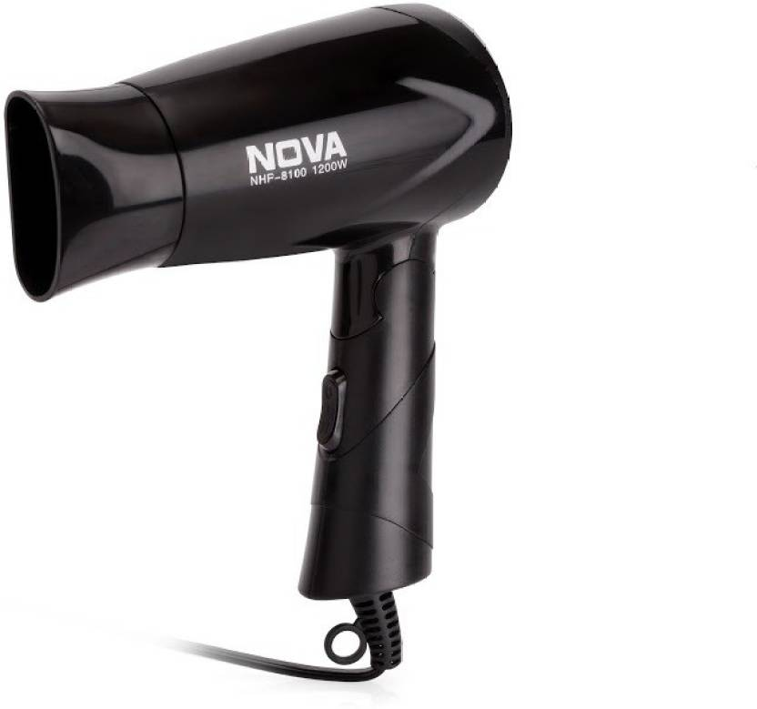 Upto 60% Off On Hair Dryers, Straighteners & more By Flipkart | Nova Silky Shine 1200 W Hot And Cold Foldable NHP 8100 Hair Dryer  (Black) @ Rs.349
