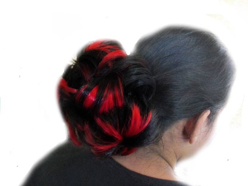 Wigowig Beautiful Black Messy Bun With Red Highlight Hair Extension